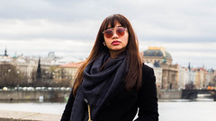 * (Timos L) Tags: streetportrait woman girl look candid sunglasses urban landscape river coat olympus em5ii panasonic 1235 123528 timosl prague czech republic