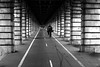 The rider (pascalcolin1) Tags: paris13 homme man cycliste rider pont bridge pontdebercy bercy photoderue streetview urbanarte noiretblanc blackandwhite 50mm canon50mm canon