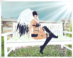 let the light shine on me (kay_1806) Tags: secondlife angel demon sub bench sun shine wings maitreya alluring boots body avatar catwajessicahead