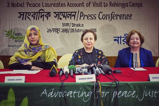 Three female Nobel Peace laureates brief about Rohingya Crisis in Dhaka
