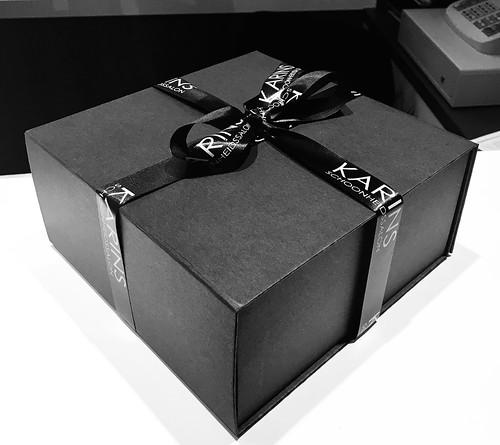 25mm zwart lint met wit bedrukt