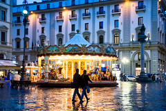 Carousel. Firenze. (Miguel Angel SGR) Tags: plaza square calle rue street florencia florence firenze italia italy europa europe carrousel carusel tiovivo luz light lumiere rain rainy lluvia lluvioso afternoon tarde atardecer city ciudad twon travel trips tourism turismo touring viajes viajar cityscape siluetas silhouettes nikon nikond7200 d7200 exterior exteriores blue azul bluehour horaazul miguelangelsgr miguelonphotography
