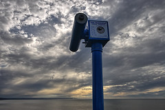 owl telescope (nerd.bird) Tags: sea landscape sky sunset clouds telescope aberystwyth owl blue grey