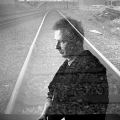 the rails -  self portrait series (Bernie Vander Wal) Tags: yashicalm ilfordhp5 hc110 standdeveloped