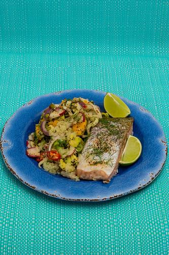 Monday dinner. Baked crispy skin salmon served with fennel salad plus avocado, radish, mango, 💛 finger lime and lime 💚