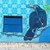 bird 'watching' (msdonnalee) Tags: window janela fenster finestra fenêtre ventana bird muraldetail binoculars blue corvid wall wallart tacoma turquoise