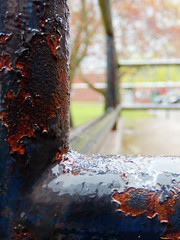 Abstract: rustty railing (Thiophene_Guy) Tags: thiopheneguy originalworks olympustoughtg4 tg4 olympustg4 olympusstylustg4 tough
