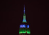 The Empire State Building is lit green and blue in honor of National Eating Disorders Awareness Week. (apardavila) Tags: esb empirestatebuilding hoboken manhattan nyc newyorkcity skyline skyscraper