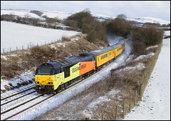 Pennington, Cross Moor, Colas 67023 & 67027 (09.38 Carnforth Down Sdgs - Barrow-in-Furness) 28/02/18. (DigitAL46232) Tags: pennington lindalbank colas 67026 67027 derbyrtc crossmoor