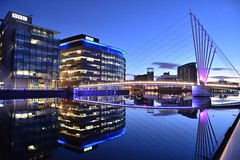 Feeling blue? (PentlandPirate of the North) Tags: salfordquays manchester bbc mediacity blue hour