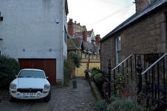 Dean Village (Oliver MK) Tags: deans dean village city edinburgh scotland secluded spot car mg vintage backstreet street cobbled white classic houses british uk nikon d5500 old winding road