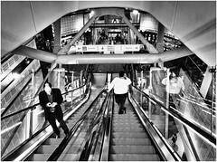 the age of technology (kurtwolf303) Tags: monochrome streetphotography persons people strasenfotografie bw sw olympusem1 omd microfourthirds micro43 systemcamera mirrorlesscamera spiegellos escalator rolltreppe urban 250v10f unlimitedphotos topf25 topf100