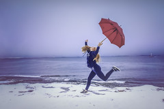 19/354: Happy (Liv Annette) Tags: snow happy daughter umbrella jump ocean sea winter hollister nike ginger girl teenager 365 365project