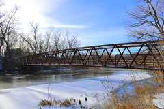 Bridge over Water (KristinaRoo) Tags: bridge water river ice frozen snow cold winter trees forest nature sky bluesky