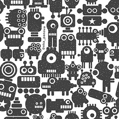 Seamless pattern with techno monsters and robots (eka panova) Tags: seamless pattern wallpaper wrappingpaper endless texture background backdrop design illustration vector ornament retro vintage decorative decoration decor graphic cover creative fabric geometric ornamental ornate periodic print regular repeat style stylish textile tile monster robot space star cute funny children hipster face small black white monochrome animal fantastic fantasy microbe collection