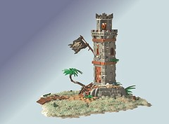 Green Sea Rock Lighthouse (W. Navarre) Tags: lego pirate lighthouse caribbean green sea rock palm tree dock island ocean water saltwater