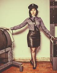 (vujo1017) Tags: uniform mistress uniformed police girl women woman frau damen shirt tie strict lady dominatrix prison guard femdom bdsm leather skirt blouse bluse camica