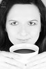 PROJECT 52 #6 - One More Cup of Coffee (mkarwowski) Tags: woman portrait monochrome blackandwhite people studio flash softboxwithgrid octagonsoftboxwithgrid softbox octagonsoftbox yongnuoyn568exii yongnuorf605c canonef50mmf18stm ef50mmf18stm canon eos 80d canoneos80d eos80d coffee highkey
