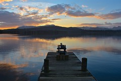 Lakeland sunset (Nige H (Thanks for 12m views)) Tags: nature landscape lake lakedistrict sunset lakewindermere windermere lowwoodbayhotel jetty canon mountains winter sky cloud reflection england cumbria lakedistrictnationalpark