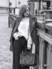 70's glam (slavamanc) Tags: blackwhite monochrome fashionshoot girl pretty model designer bag moschino city manchester urban bridge sunglasses face