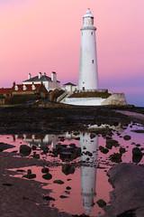 Reflecting St. Mary's (Chris Lishman) Tags: stmaryslighthouse stmarysisland tynewear whitleybay reflections colours colourful dusk sunset coast coastal seascape rockpools