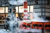 Crossing the streets - New York City (DerHarlekin) Tags: orange white smog fog businessman newyorkcity usa america downtown scarf scarves schal geschäftsmann street streetfotografie traffic trafficlights ampel wallstreet