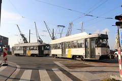 2017-11-03, Antwerpen, Rijnkaai (Fototak) Tags: tram strassenbahn pcc antwerpen delijn ligne7 7087 7079