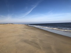 Cape Henlopen State Park Lewes Delaware (Michele Dorsey Walfred) Tags: delaware beach ocean coast waves sky coastline shore atlantic sea sand lewes capehenlopen water nature landscape simplicity peaceful blue tan