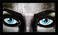Blue eyes (Jean-Louis DUMAS) Tags: portrait portraiture yeux bleu blue bw black tag peinture peinturemurale streetart rue art artist artistic artistique
