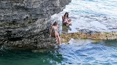 DIPPING A TOE (Rob Patzke) Tags: beach lx100 waves cliff girls swimsuit lumix swim lake doorcounty girl
