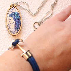 Small Embroidery Hoop Necklace (Mara Creates) Tags: alisonglassfabrics blue embroidery bag