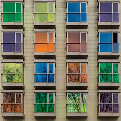 16 colorful windows (Leipzig_trifft_Wien) Tags: colorful colored multicolor square architecture windows lines simple composition reflection bilbao spain hotel facade green yellow orange blue purple tones building