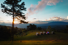 Camping in the mountains, Huai Nam Dang Nation Park, Chiang Mai Thailand (Patrick Foto ;)) Tags: activity adventure asia background beautiful blue camp campsite environment equipment evening extreme forest grass green hike hiking hill journey landscape leisure light mountain nature night northern orange outdoor park peak scene sky sport summer sun sunset tent thailand tourism tourist travel tree trekking trip view wild wilderness winter tambonkuetchang changwatchiangmai th