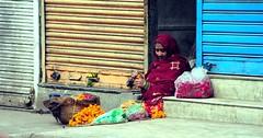 Flower woman SF (Rajesh Bhalla) Tags: flowers flowerseller flowerwoman delhi india chawribazar puranidelhi dili