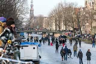 Skating in the frozen canals of Amsterdam, Holland