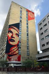 Shepard Fairey in Paris (Eddie C3) Tags: parisfrance vacationphotos shepardfairey wallmurals largemurals streetscenes streetart