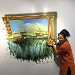 me tipping over the sea and ships painting (olive witch) Tags: 2018 abeerhoque chennai day funny india indoors jan18 january madras me museum painting