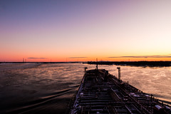 Night is approaching (langdon10) Tags: canada canon70d laurentiadesgagnes montreal quebec ship shoreline stlawrenceriver sunset tanker cold nautical outdoors winter