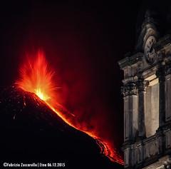 Eruzione e Chiesa di Zafferana Etnea (Fabrizio Zuccarello) Tags: etna sicily sicilia volcanoes vulcani italy italia nature natura geology geologia eruption eruzione