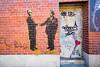 The Einstein Alien Bridge (Brian Knott Photography) Tags: ny nyc newyork newyorkcity city urban building door doorway bricks brickwall wall art graffitiart graffiti painting alien einstein queens streetphotography
