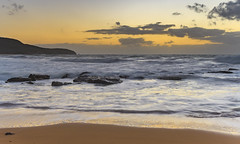 Moody Sunrise Seascape with Big Surf (Merrillie) Tags: daybreak sunrise centralcoast cloudy australia morning surf sea waves landscape newsouthwales rocks earlymorning nsw killcarebeach beach ocean waterscape clouds water coastal nature outdoors seascape dawn coast killcare sky