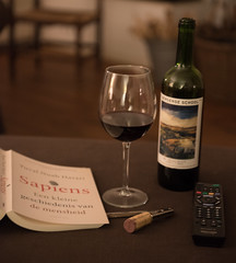 home alone (=Mirjam=) Tags: nikond750 52in2018challenge stilllife wine bottle book glass remote opener januari 2018