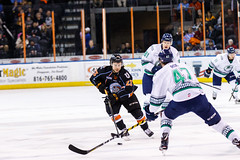 """Kansas City Mavericks vs. Florida Everblades, February 18, 2018, Silverstein Eye Centers Arena, Independence, Missouri.  Photo: © John Howe / Howe Creative Photography, all rights reserved 2018 • <a style=""""font-size:0.8em;"""" href=""""http://www.flickr.com/photos/134016632@N02/40342826852/"""" target=""""_blank"""">View on Flickr</a>"""