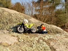 Soaking up the rays (052/365) (robjvale) Tags: nikon d3200 adventurerjoe project365 lego bike motorbike helmet drink sun sunshine warm relax trees rock