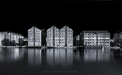 Gloucester Docks (Photography by Julia Martin) Tags: photographybyjuliamartin gloucesterdocks gloucester blackandwhite monochrome water warehouses industrial longexposure reflections england hss leeproglassirnd longboat canalboat