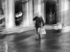 Life is flowing by (Of Light & Lenses) Tags: venice life flowingby italy streetscene olympus mzuiko bw blackandwhite schwarzweiss blurredvision creative