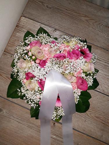 45mm wit rouwlint met zilver bedrukt