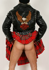 Geared Up (Cowboy Tommy) Tags: leather gear fashion studs studded harley plaid kilt upkilt backside ass asscrack arse butt hiney cheeks mounds buns freeballing hairy crotch legs eagle leatherjacket biker sex sexy hot rugged manly flashing mooning
