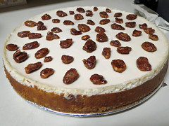 My Wife's Homemade Cheesecake. (dccradio) Tags: lumberton nc northcarolina robesoncounty indoors inside food eat round dessert sweet treat cheesecake glazedpecans nut nuts pumpkin canon powershot elph 520hs