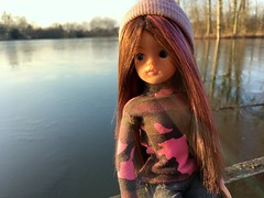 She didn't care to hang around (dolldudemeow24) Tags: sindy doll dolls army skater beanie brown pink long hair fixed custom fashion barbie sun sunlight outside water grass trees dutch holland netherlands 2018